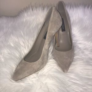 Suede pumps. White house black market taupe